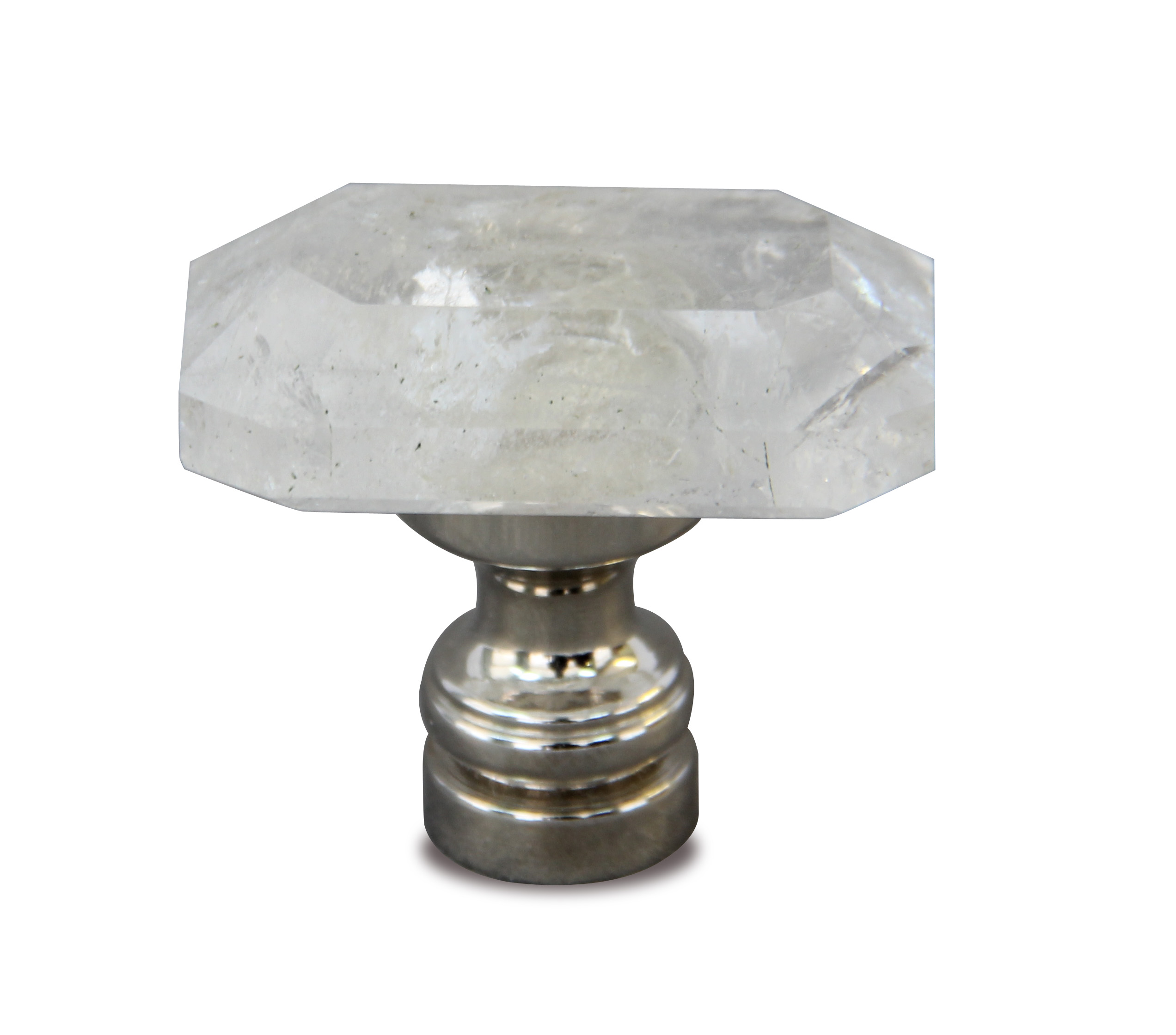 Captivating Jewel Rock Crystal Cabinet Knob In Polished Nickel Finish